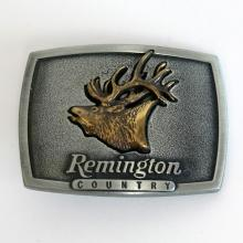 Silver tone buckle with gold plated 3D Elk