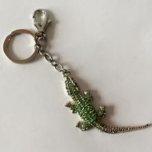 Silver tone key chain CROCODILE shaped with green rhinestones from top and nice gallery from back side
