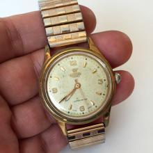 Vintage round RW ROAMER 17 jewels Super shock, Swiss made watch with stretchable bracelet