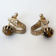 Vintage gold plated flat mesh chains with prongs set genuine tiger eye cabochons cufflinks