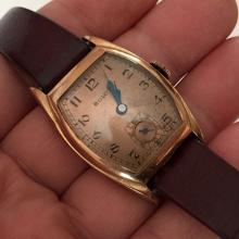 Vintage gold rolled bezel cushion BULOVA Chrono Swiss ladies watch with leather strap
