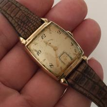 14k gold filled cushion LORD ELGIN Chrono ladies watch with leather strap