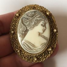 Vintage bone color carved CAMEO in gold tone textured finish oval frame with mini faux pearls brooch / pendant