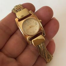 Gold plated cushion ECCLISSI Quartz Japan movement watch with matching original bracelet, yellow mother of pearl dial