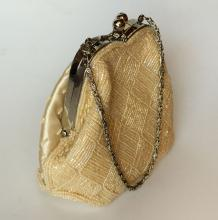 Beaded Silk Evening Cluch Bag  Purse with Metal Handles