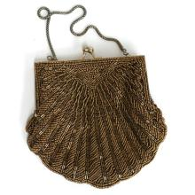 Vintage dark gold color WALBORG BEADED PURSE CLUTCH in shape of SHELL