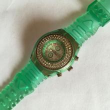 GENEVA s/s watch, crystal bezel Quartz, Japan Mvmt, Water resistant rubber strap