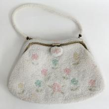 White ladies purse evening bag with pastel color and white mini beads embellishments hand made with silver tone closure