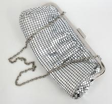 Silver tone soft metal mesh ladies purse evening bag with chain handle and mirror like metal closure