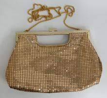 Gold plated soft metal mesh ladies purse evening bag with rope style chain handle and mirror like gold plated metal closure, signed LA REGALE