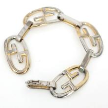 Vintage two tone sterling silver GUCCI bracelet with hidden clasp and safety