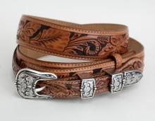 Silver tone embellished and oxidised buckle with brown /black color man made leather belt made by TONY LAMA
