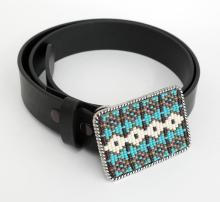 Silver tone rectangular buckle embellished with small turquoise, white and brown color beads and real black leather belt