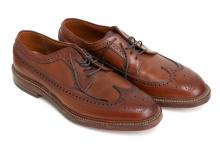 Alden for J.Crew Waxed Longwing Blutchers Tobacco color Oxford style Leather Dress Shoes. Size 9 1/2