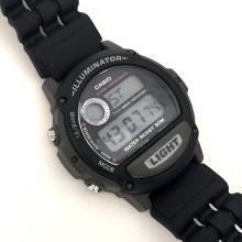 Casio round black / gray plastic Alarm Chonograph mode indicator water resistant ligth iluminator 12/24 hr watch with rubber matching bracelet.