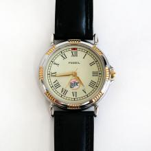 Two tone round FOSSIL Lite watch with black genuine leather Fossil strap and Japan movement