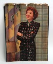 Vintage?SUNDAY?NEWS magazine cover June 22, 1946 with photo Claudette Colbert
