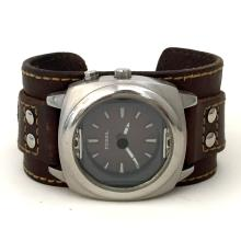 Fossil round stainless steel satin finish men's watch with leather band.