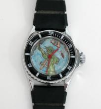 Silver tone black plastic band New York Tours Airplane watch with rubber band