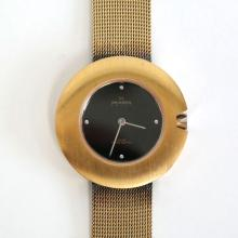 Vintage unisex ultra slim gold plated stainless steel round SCAGEN SWISS watch, 3 ATM, SWISS Quartz