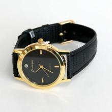 Gold plated round CLASSIQUE watch with genuine leather band, Quartz movement, genuine diamond black dial