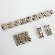 Vintage sterling silver shiny and diamond cut SET - rectangular brooch, bracelet with hidden clasp, dangling ear clips