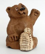 Vintage sitting BEAR IN BOOTS figurine, signed Dave Grossman, 76