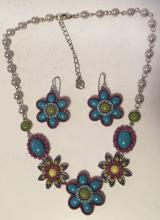 Colorfull set (silver tone earrings with fish hooks and tin cup necklace with different shapes of beads and cabochon stones and faux pearls measured 6 mm in diameter, signed CAROLEE.