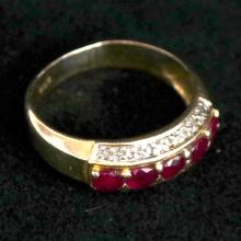 14k yellow gold diamond and ruby ring. Size 6 1/4