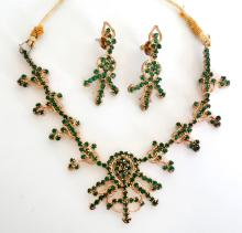 Gold plated with prongs set green emerald color rhinestones SIAM SET - necklace and earrings