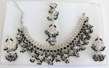 Silver tone SIAM SET with black faceted beads and rhinestones - necklace, earrings and matching forehead piece