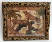 Framed under glass poster of 3 LEOPARDS