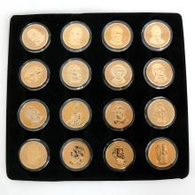Lot of 16 gold plated with enamel United States of America 1$ coins