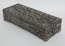 Vintage silver tone heavy metal embellished rectangular jewelry box trinket, signed GODINGER SILVER, 1992