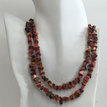 Genuine tiger eye and cat eye chip beads necklace with antique color chain