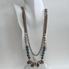 Antique color chain and gold plated free form, blue color with gold flakes beads 2 strands necklace, signed CHICO'S