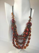 Antique color chains with orange and red color round and oval beads necklace