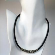 Vintage thick rubber cord with sliding silver tone spacers and beads lobster clasp necklace