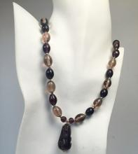 Light brown glass beads 2 strands necklace with silver tone lobster clasp