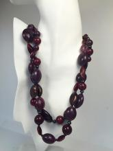 Dark purple and brown color different shapes beads 2 strands with blackened chain necklace