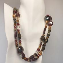 Vintage multi shapes: leaves, oval, heart, round - frosted and shiny glass and antique color metal beads necklace, no clasp