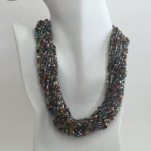 Multi strands multicolor small glass beads necklace