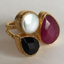 Gold plated textured finish ring with channel set pear shape ruby and sapphire color semi-presious stones and round white mother of pearl