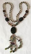 Genuine oval flat stones, mother of pearl, glass beads and genuine stone chips necklace with pendant, no clasp