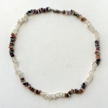 Multicolor genuine stones chip necklace with silver tone clasp
