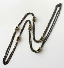 Black color 3 different style chains and antique color metal fancy beads with white rhinestones lobster clasp necklace, signed LOFT