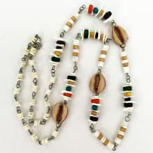 Fancy shape wood, chip beads and faux sea shell necklace with silver tone lobster claw clasp, length 30 inches