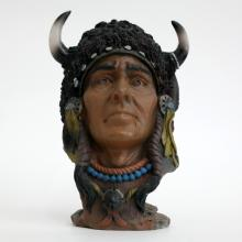 NATIVE AMERICAN MAN HEAD WITH HORNS resin statue figurine