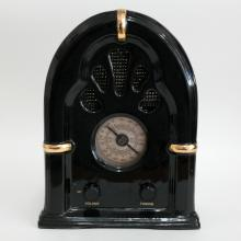 Vintage look AM FM black with gold plated accents radio, signed from back PS limited edition 1998