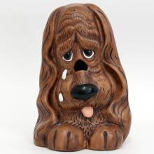 Vintage ceramic sad brown DOG figurine statuette holder